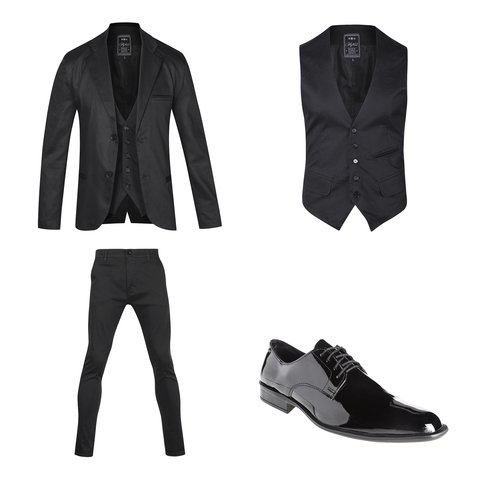 Traje Negro satinado slim fit + Zapatos Charol