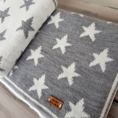 MANTITA REVERSIBLE STARS GRIS Y NATURAL 105x80 CM - Mini Anima