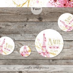 Kit imprimible Paris Flores Rosas Dorado Candy Bar TuKit en internet