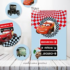 Kit imprimible cars autos candy bar tukit