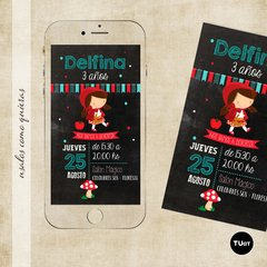 Invitacion caperucita roja imprimible y digital virtual whatsapp tukit