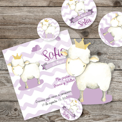 Kit imprimible tarjetas topper bebe oveja tukit sheep