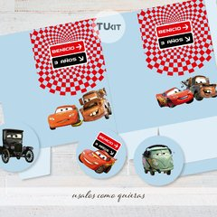 Kit imprimible cars autos candy bar tukit - comprar online