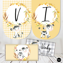 Kit Imprimible Vaca Cow Candy Bar TuKit - tienda online