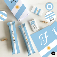 Kit imprimible argentina celeste y blanco candy bar