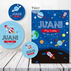Kit Imprimible Espacio Planetas Cohetes Candy Bar TuKit
