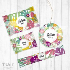 Kit Imprimible Hawaii Flores Hojas de Colores Candy Bar