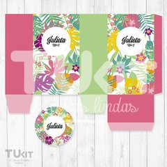 Kit Imprimible Hawaii Flores Hojas de Colores Candy Bar en internet