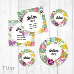 Kit Imprimible Hawaii Flores Hojas de Colores Candy Bar - comprar online