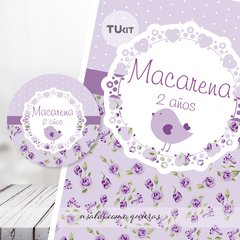 Kit Imprimible Pajarito Flores Violeta Lila Candy Bar en internet