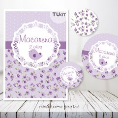 Kit Imprimible Pajarito Flores Violeta Lila Candy Bar - TuKit