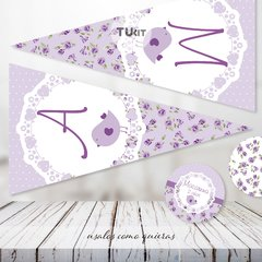 Kit Imprimible Pajarito Flores Violeta Lila Candy Bar