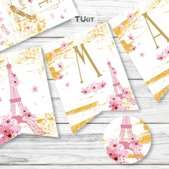 Kit imprimible Paris Flores Rosas Dorado Candy Bar TuKit - tienda online