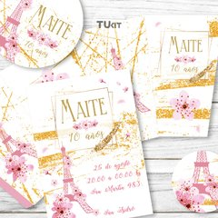 Kit imprimible Paris Flores Rosas Dorado Candy Bar TuKit - comprar online