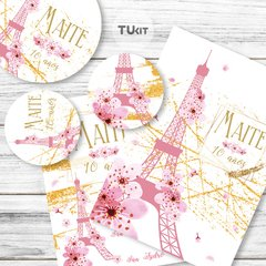 Kit imprimible Paris Flores Rosas Dorado Candy Bar TuKit