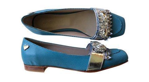 Mocasines Light Blue Metal