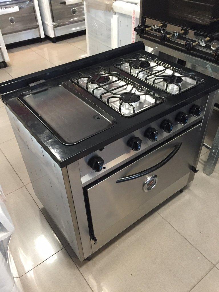 Cocina 4 hornallas y plancha acero inox superoferta - Plancha para cocina a gas ...