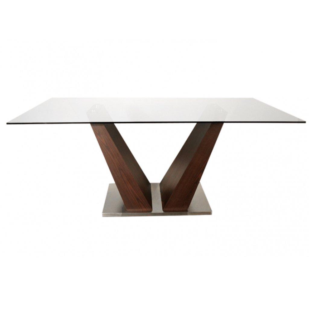Mesa madera y vidrio mesa de comedor vidrio y madera for Mesas de cristal y madera para comedor