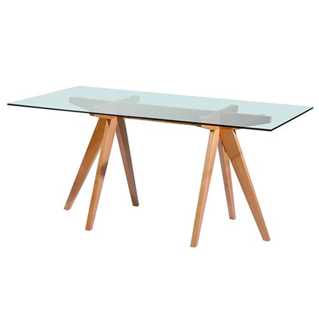 mesa comedor vidrio madera x mt