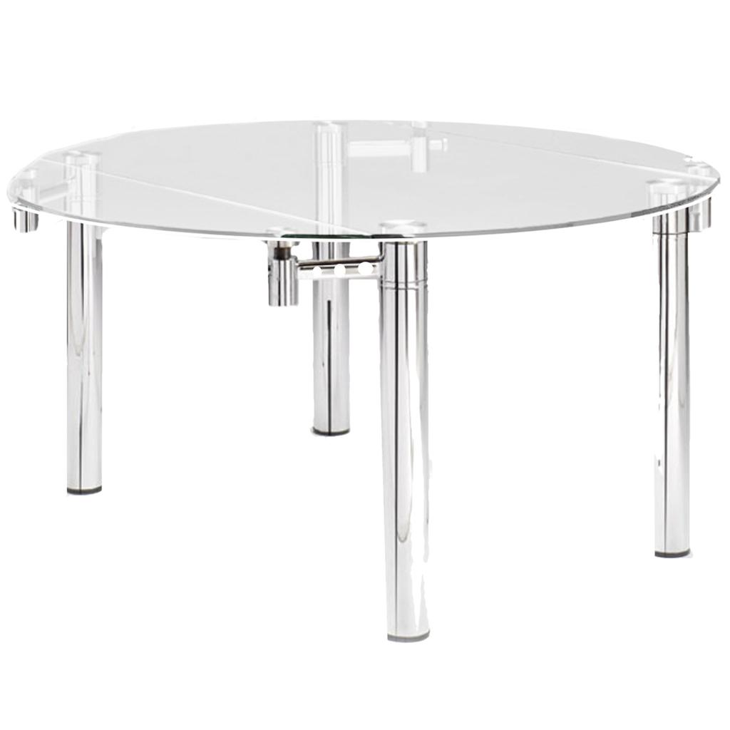 mesa de comedor extensible vidrio cromada x a x