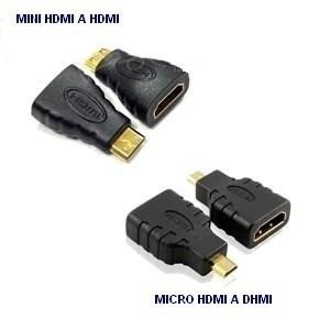 Adaptador MINI o MICRO HDMI macho A HDMI hembra