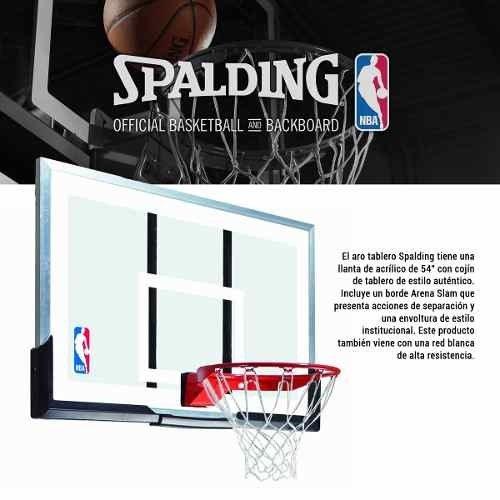 3d6211c9174ec Aro Con Tablero De Basketball Spalding Acrílico 54