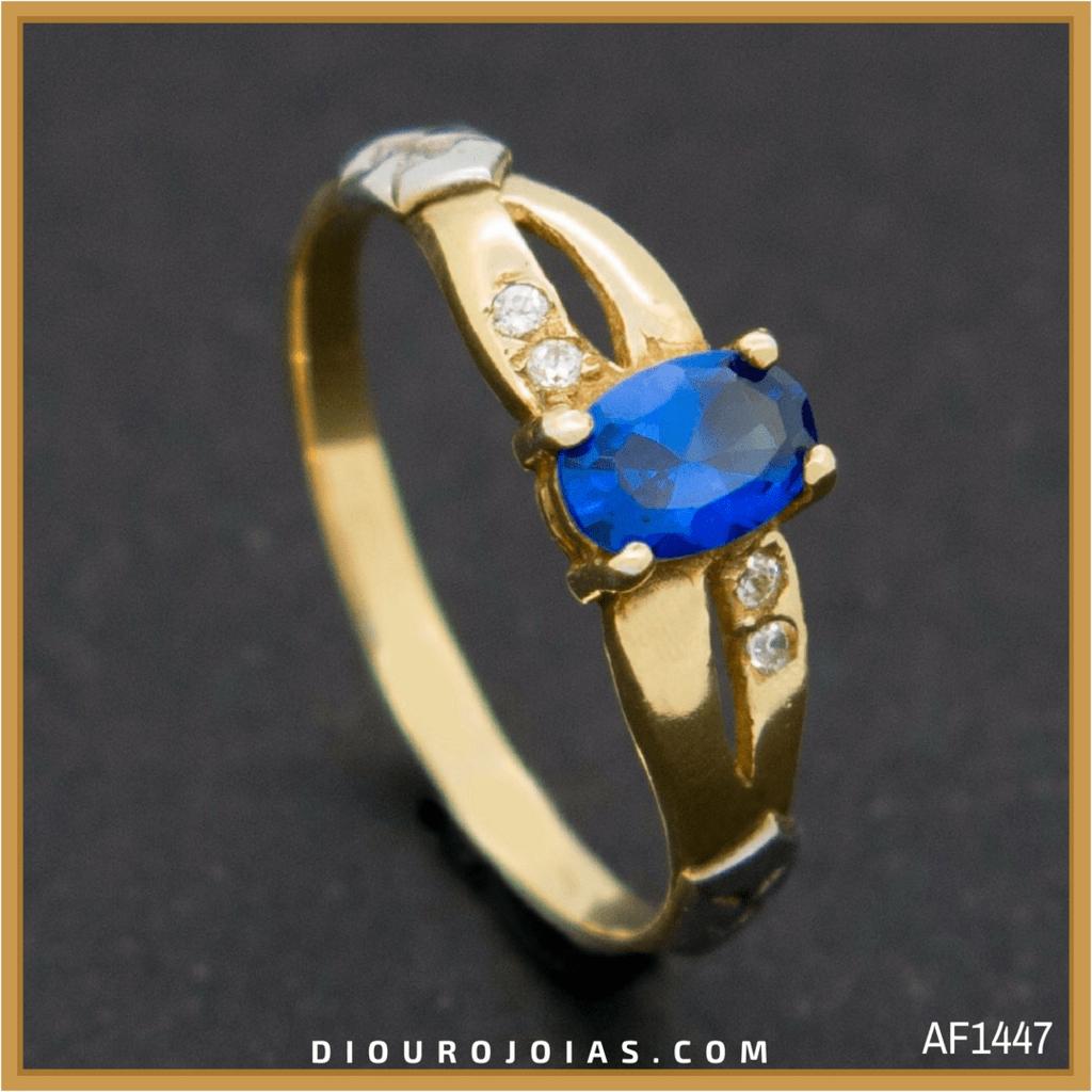 anel de formatura feminino em ouro 18k com pedra azul safira azul água  marinha para o 0db71704c4