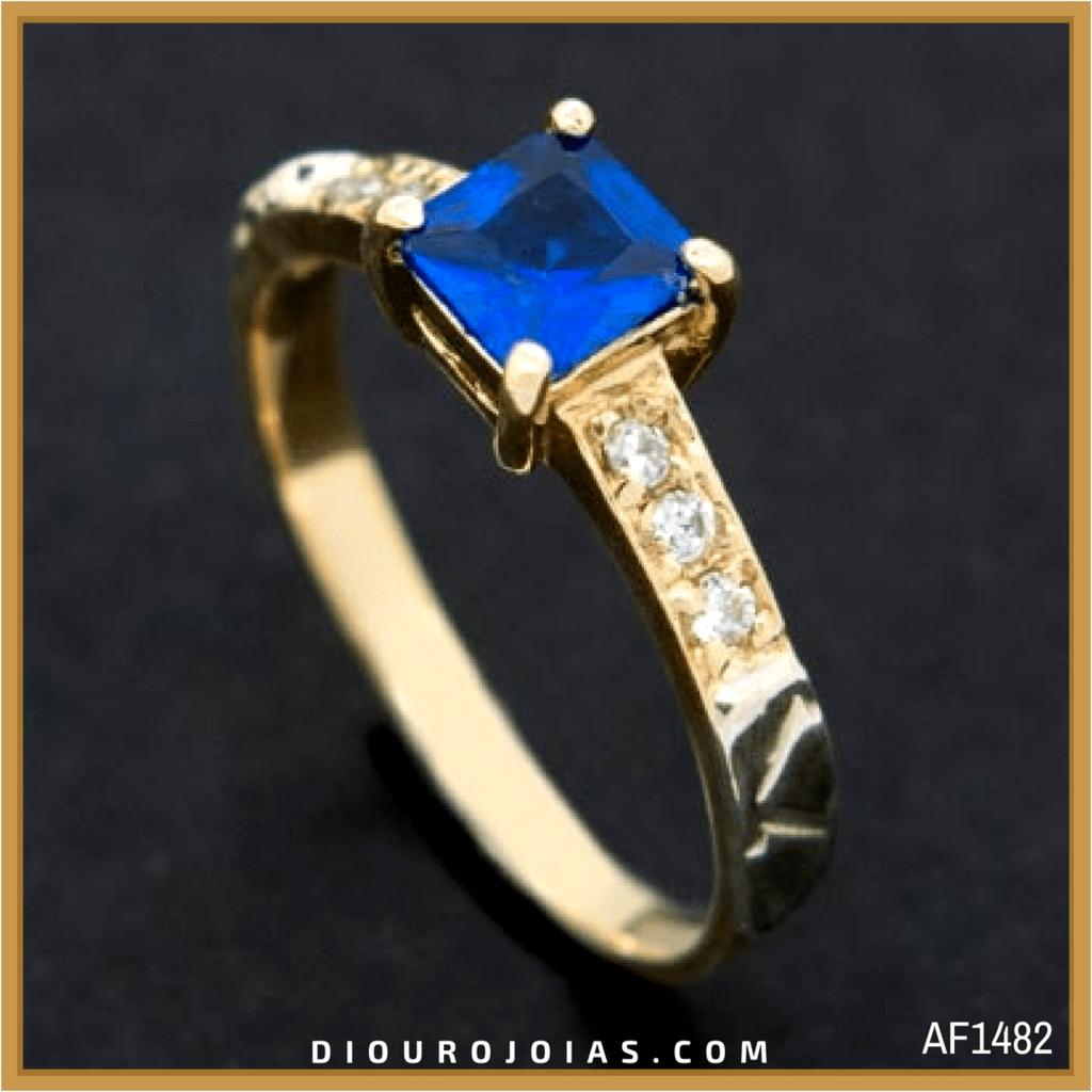 c21d193d428b1 anel de formatura feminino em ouro 18k com pedra azul safira azul água  marinha para o