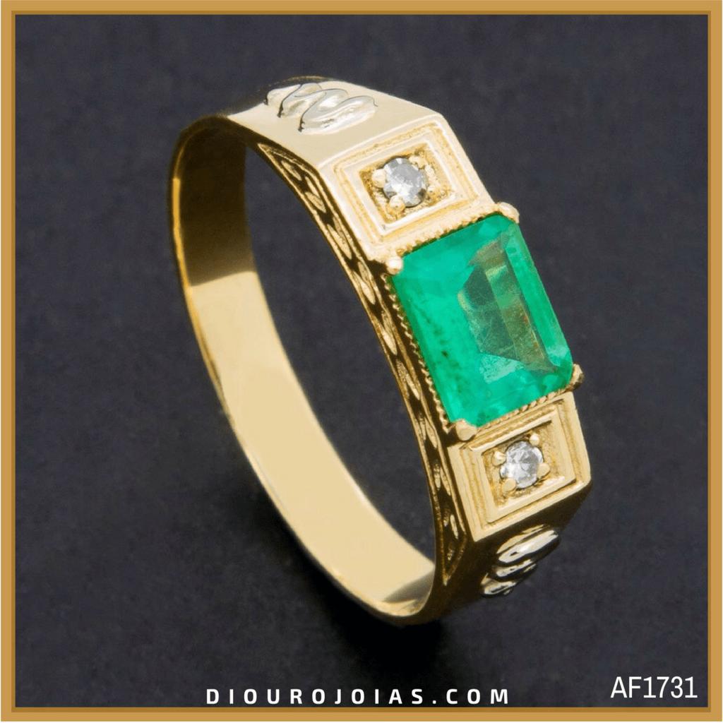b298439916192 anel de formatura feminino em ouro 18k com pedra verde esmeralda turmalina  verde para o curso