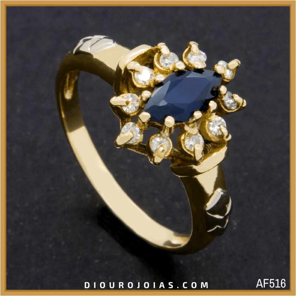 f46bb63806347 anel de formatura feminino em ouro 18k com pedra azul safira azul água  marinha para o