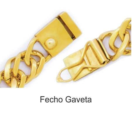 95e6286413c ... Corrente Masculina Malha Cartier Cadeado 18g 60cm em Ouro 18K Cod.