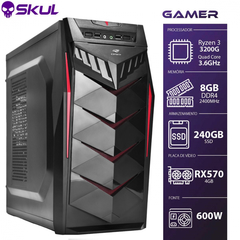 PC Gamer - AMD Ryzen 3 3200G 3.6Ghz Mem. 8GB DDR4 SSD 240GB RX 570 4GB Fonte 600W