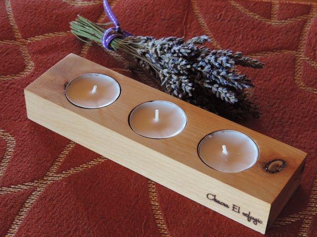 porta velas centro de mesa artesanal en madera de ciprs de la