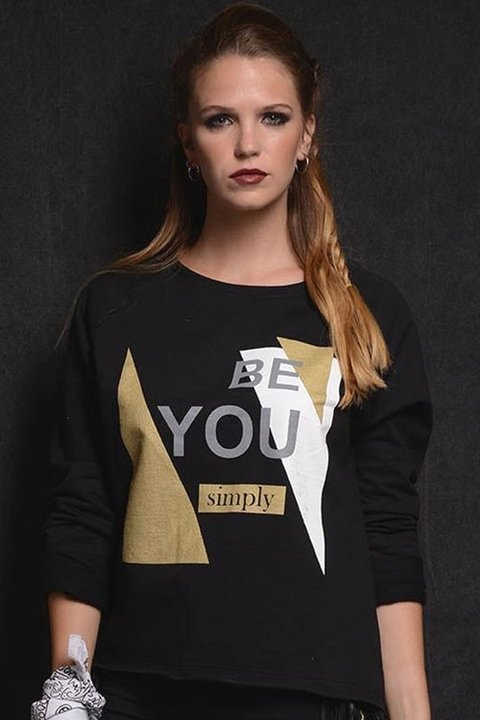 Buzo Rustico Estampa Be You Negro - comprar online