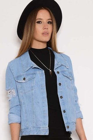 Campera Jean Rigida c/roturas