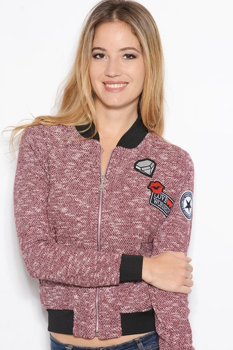 Campera Bomber Rustica c/parches Bordo