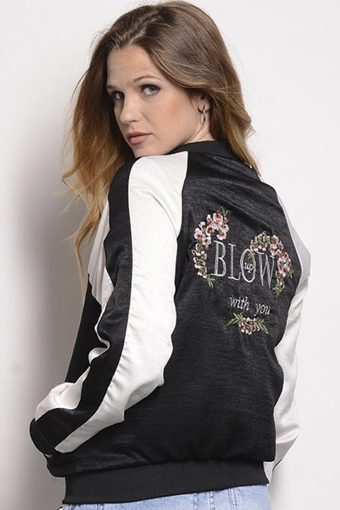 Bomber Seda Combinada Estampa Blow With You en internet