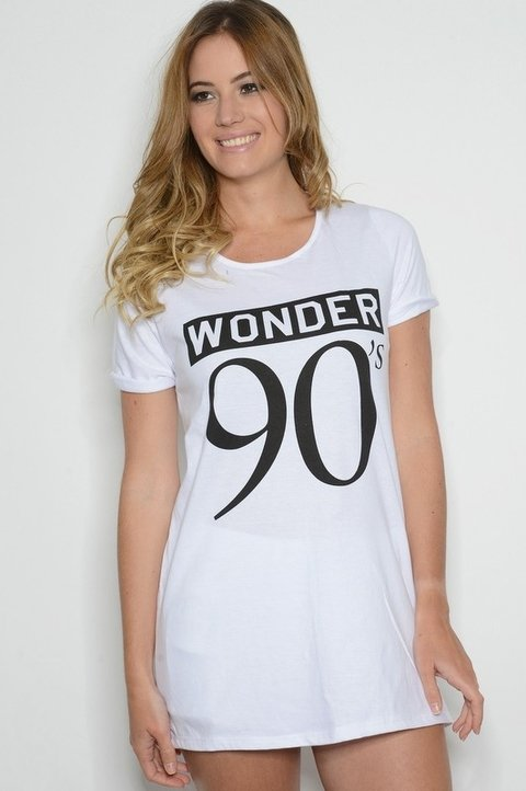 Remera Algodón Estampa Wonder 90s Blanca