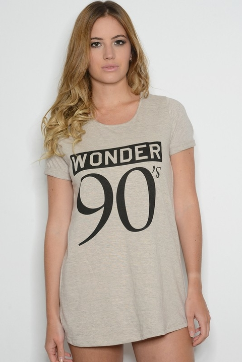 Remera Algodón Estampa Wonder 90s Gris