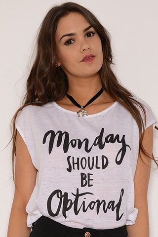 Musculosa Jersey Estampa Monday Should Be Blanco