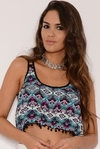 Top Fibrana Estampado c/ Bretel Doble (Pompom)