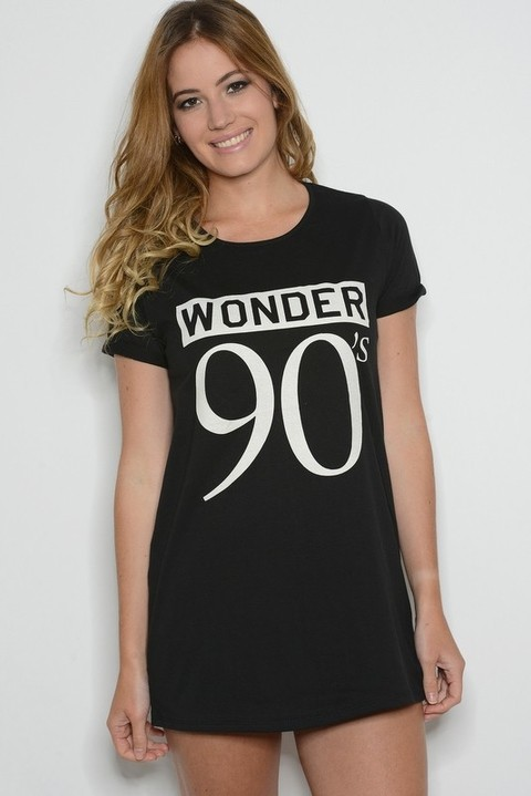 Remera Algodón Estampa Wonder 90s Negra