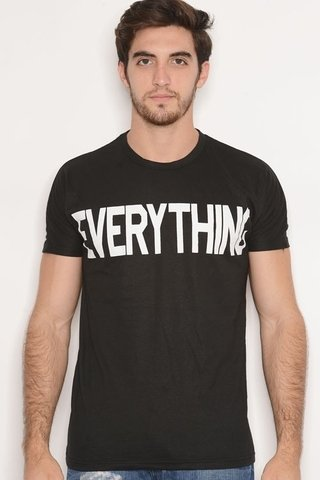 Remera Algodon Estampa Everything Negro