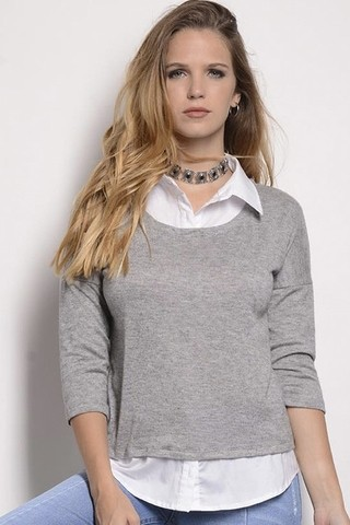 Sweater c/Camisa Lisa