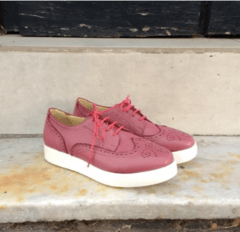 Perforated purple full-grain cowhide leather sneakers