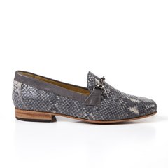 grey snake-effect leather women horsebit loafers - buy online