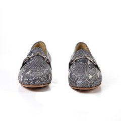 grey snake-effect leather women horsebit loafers on internet