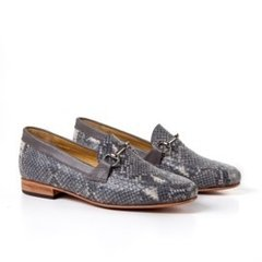 grey snake-effect leather women horsebit loafers