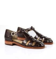 Copper patent leather sandals