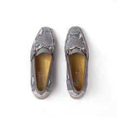 grey snake-effect leather women horsebit loafers - Correa Mujer